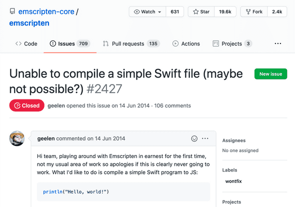 A screenshot of a GitHub issue with title